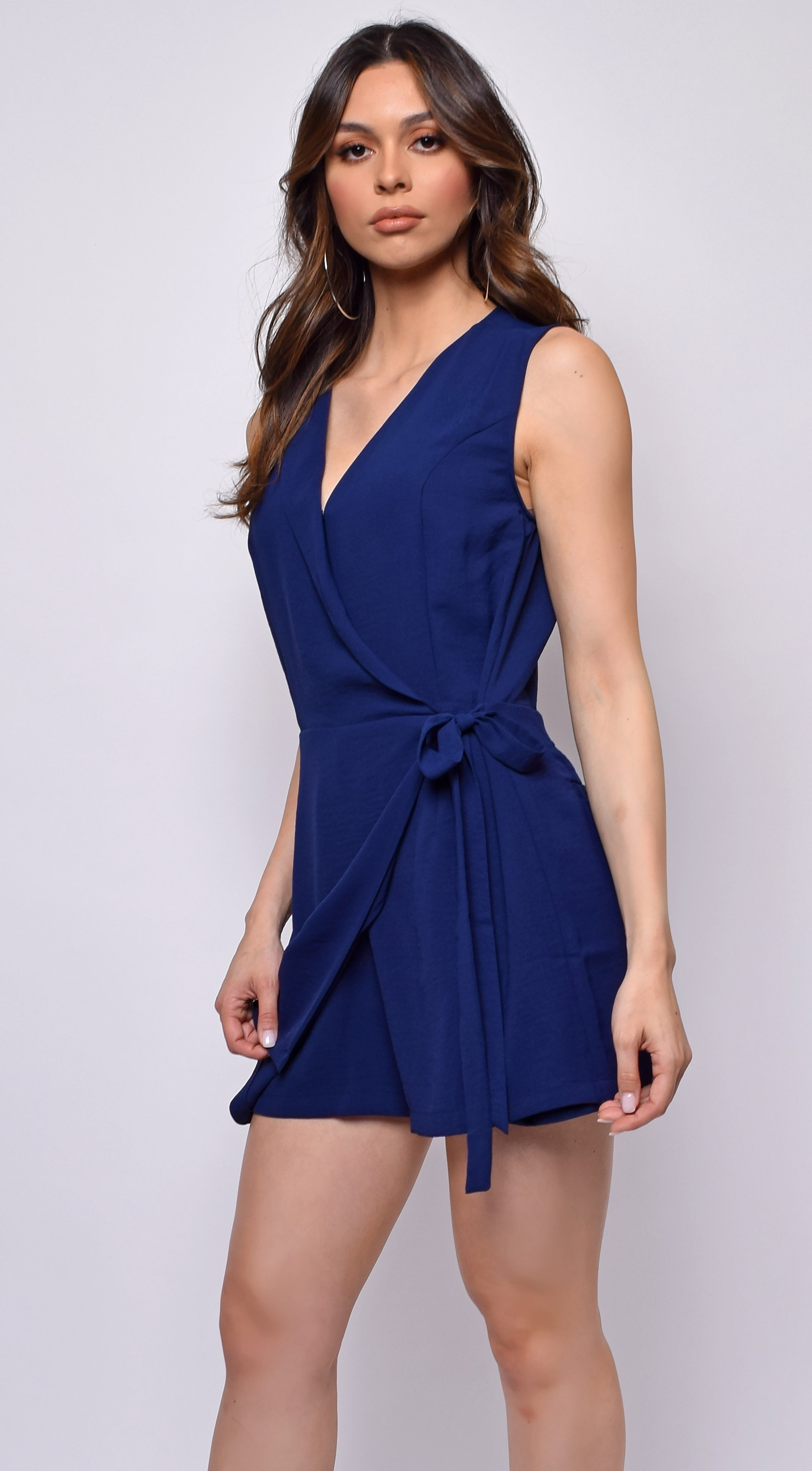 Ellis Navy Blue Wrap Side Tie Romper