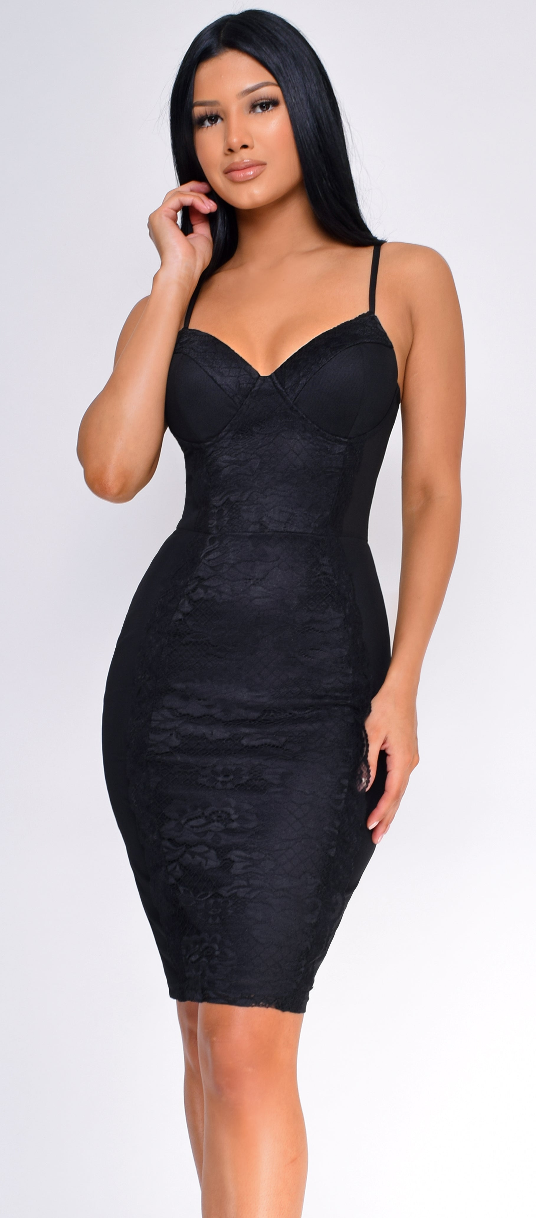 Nahla Black Lace Mesh Bustier Dress