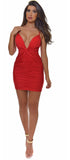 Yenna Red Ruched Front Twist Dress