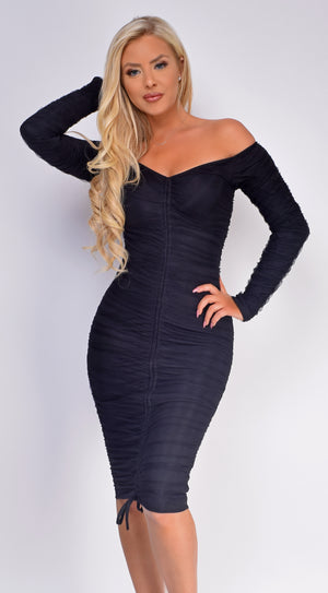 Vaida Black Off Shoulder Front Ruched Dress