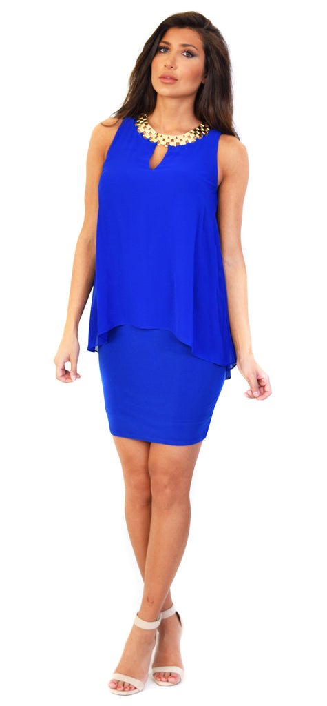 Embellished Chiffon Overlay Jersey Dress - Emprada