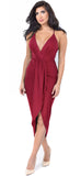 Jeanina Burgundy Deep V Drape Dress - Emprada