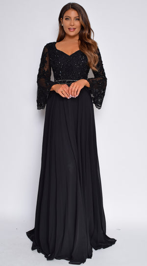Salford Black Lace Beaded Chiffon Long Sleeve Gown