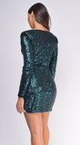 Mila Emerald Green V Neckline Sequin Dress