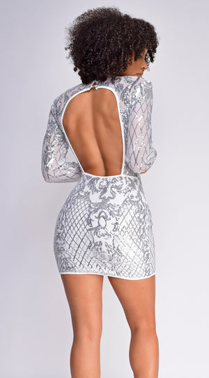 Lizzie Ivory White Sequin Long Sleeve Dress