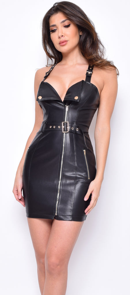 Kimberly Black PU Moto Dress
