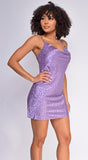 Maelynn Lavender Purple Leopard Print Cowl Neck Satin Dress