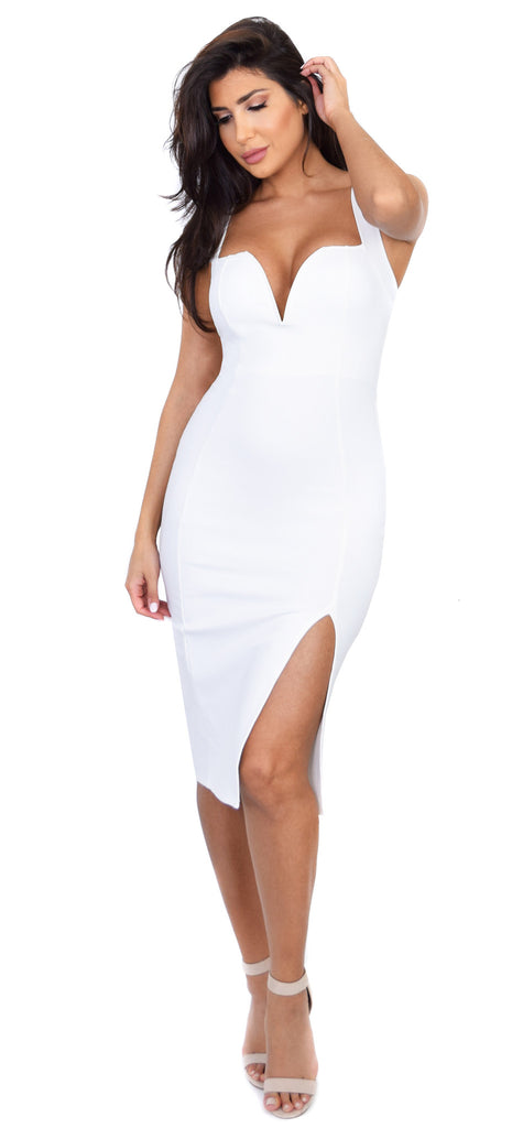 Marianna Off White Slit Dress - Emprada