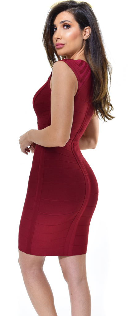 Akali Wine Bandage Dress - Emprada