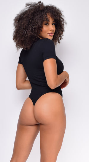 Surya Black High Neck Ribbed Bodysuit