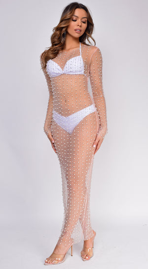 Messina Rhinestone Pearl Mesh Cover up Dress