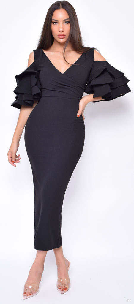 Mckenna Black Ruffle Sleeve Dress
