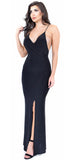 Black CrissCross Back Slit Maxi Dress - Emprada