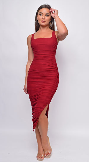 Nezrin Burgundy Square Neck Red Ruched Side Slit Midi Dress