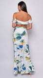 Tahiti White Tropical Floral Print Top And Skirt Set