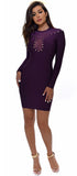 Jesenia Purple Long Sleeve Mesh Bandage Dress