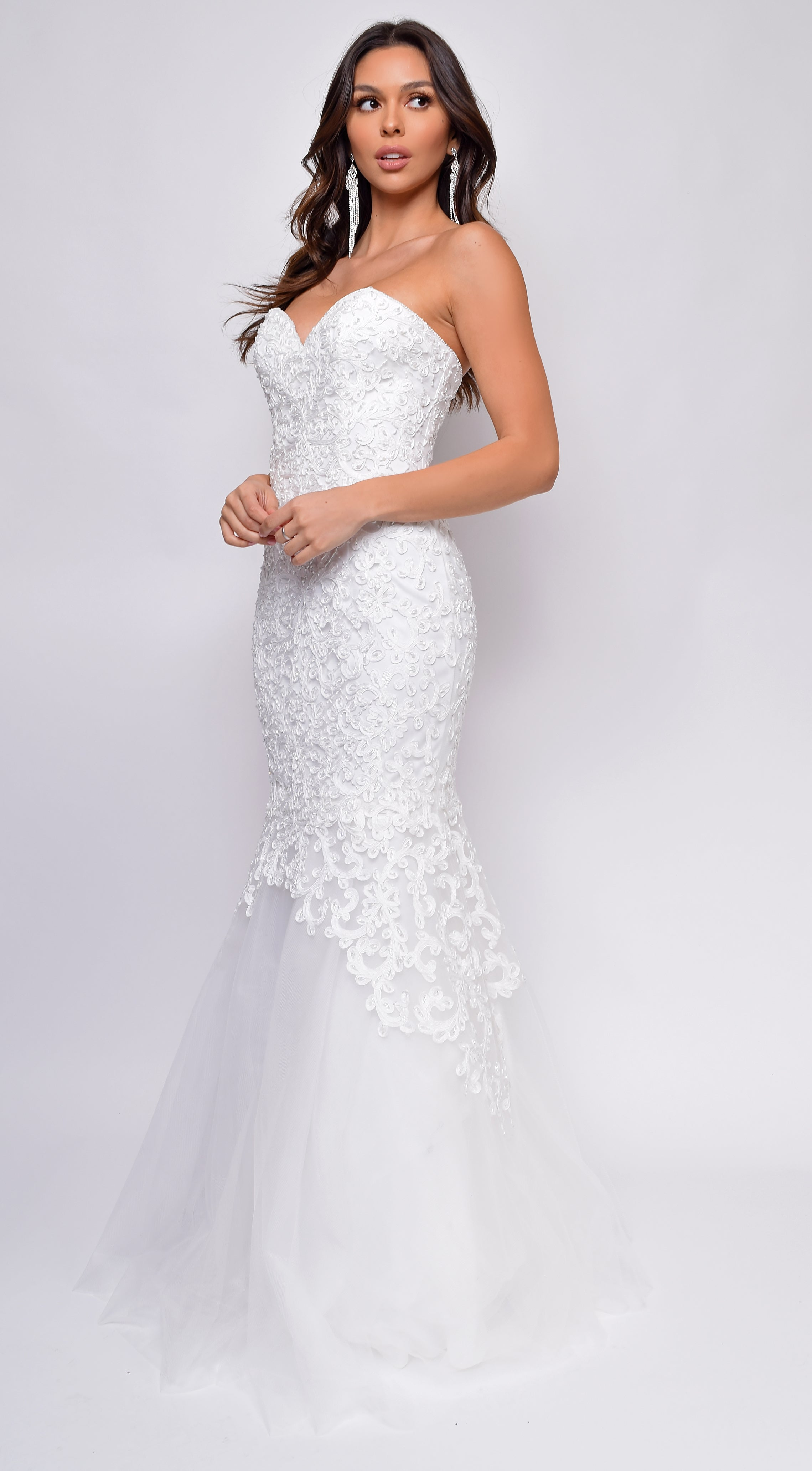 Modeca Sweetheart Neckline Strapless Beaded Lace Tulle Mermaid Bridal Gown