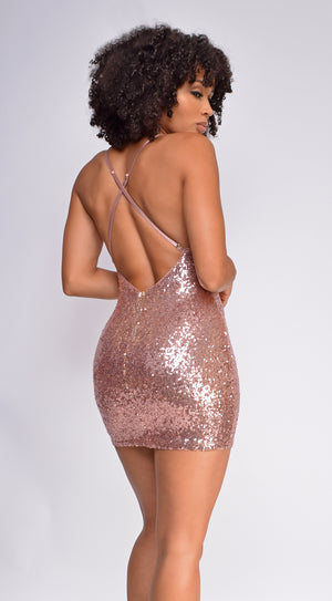 Kelli Rose Gold Sequin Drape Neck Dress
