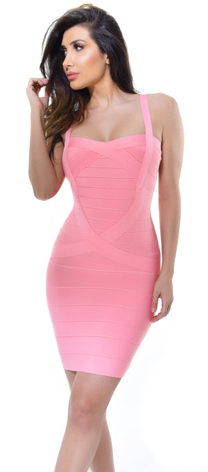 Cynthia Pink Bandage Dress - Emprada