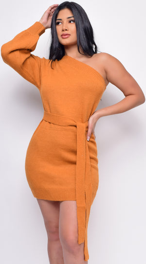 On Demand Mustard One Shoulder Sweater Dress