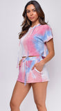 Taking A Break Pink Blue Tie Dye Short Sleeve Hoodie And Shorts Set