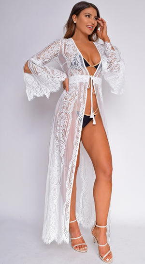 Samaria White Lace Bell Sleeve Cover Up