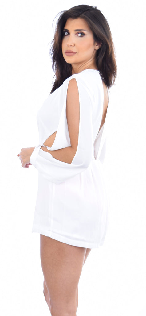 Kalina White Open Shoulder V Romper - Emprada