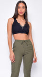 Kelle Black Button Knit Ribbed Crop Top