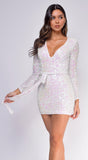 Freya White Multi Sequin Belted Dress