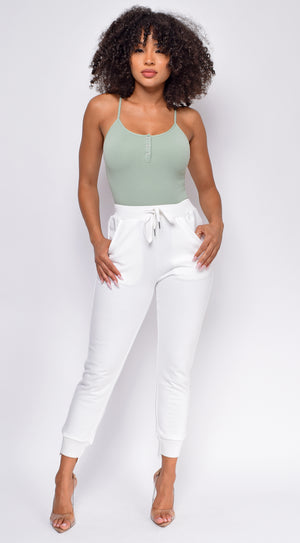 Keep Rib Sage Green Button Front Bodysuit