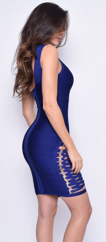 Charlyn Navy Blue Side Lace Up One Shoulder Bandage Dress - Emprada