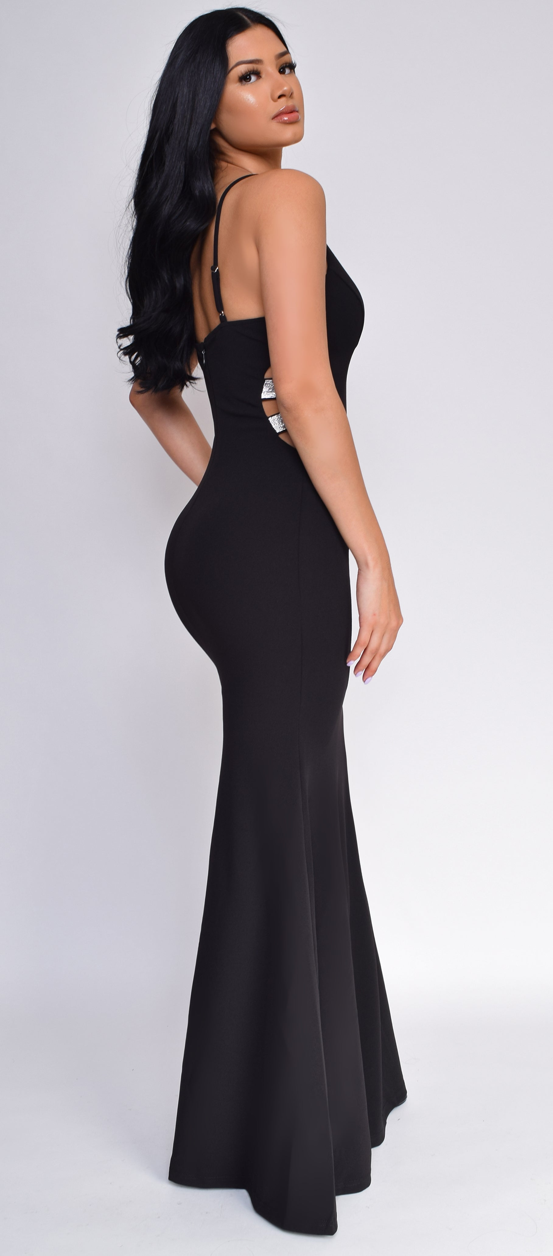 Essence Black Side Rhinestone Cutout Mermaid Gown