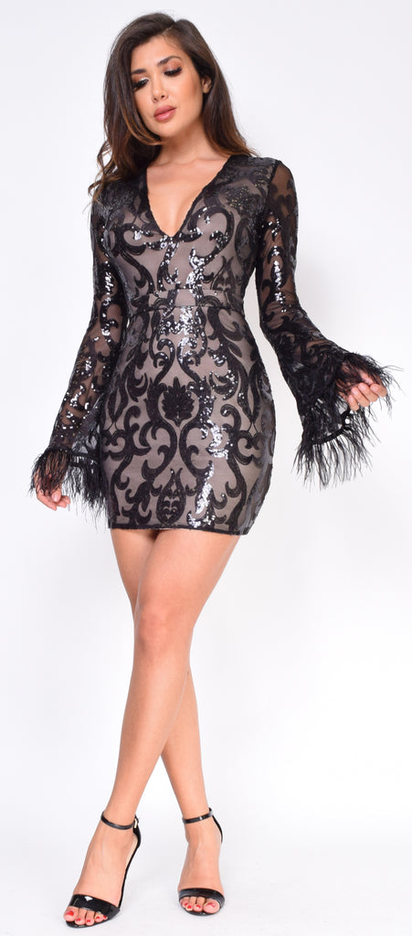 Avelina Black Nude Bell Sleeve Sequin Dress - Emprada