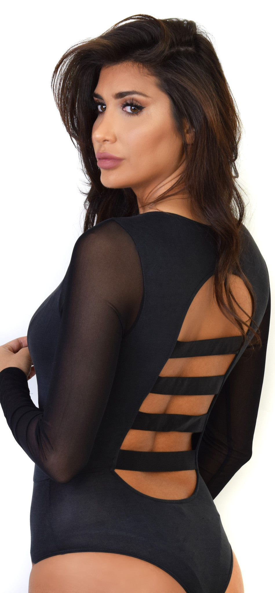 Black Deep V Mesh Long Sleeve Bodysuit - Emprada