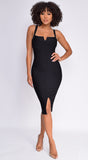Camilla Black Square Neck Bandage Dress