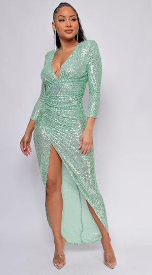 Nevada Green V Neck Sequin Maxi Dress