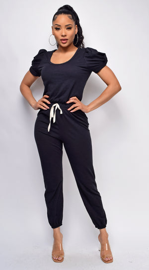 Willa Black Puff Sleeve Jumpsuit