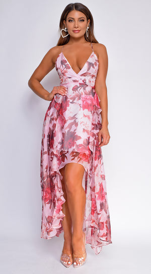 Malani Pink Floral Strappy Criss Cross High Low Dress