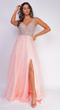 Lauryn Pink Beaded Slit Gown