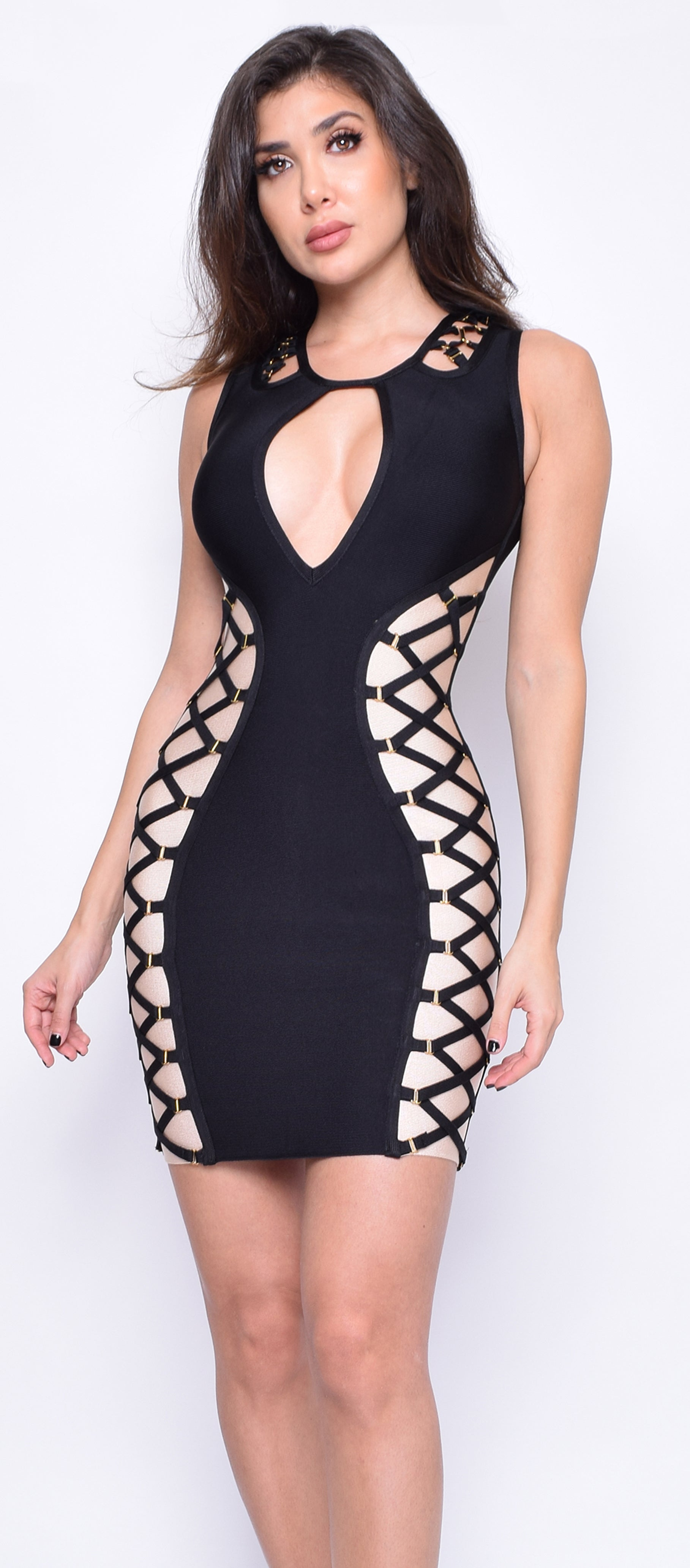 Leonora Black Nude Criss Cross Bandage Dress