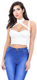 Anissa White Choker Top