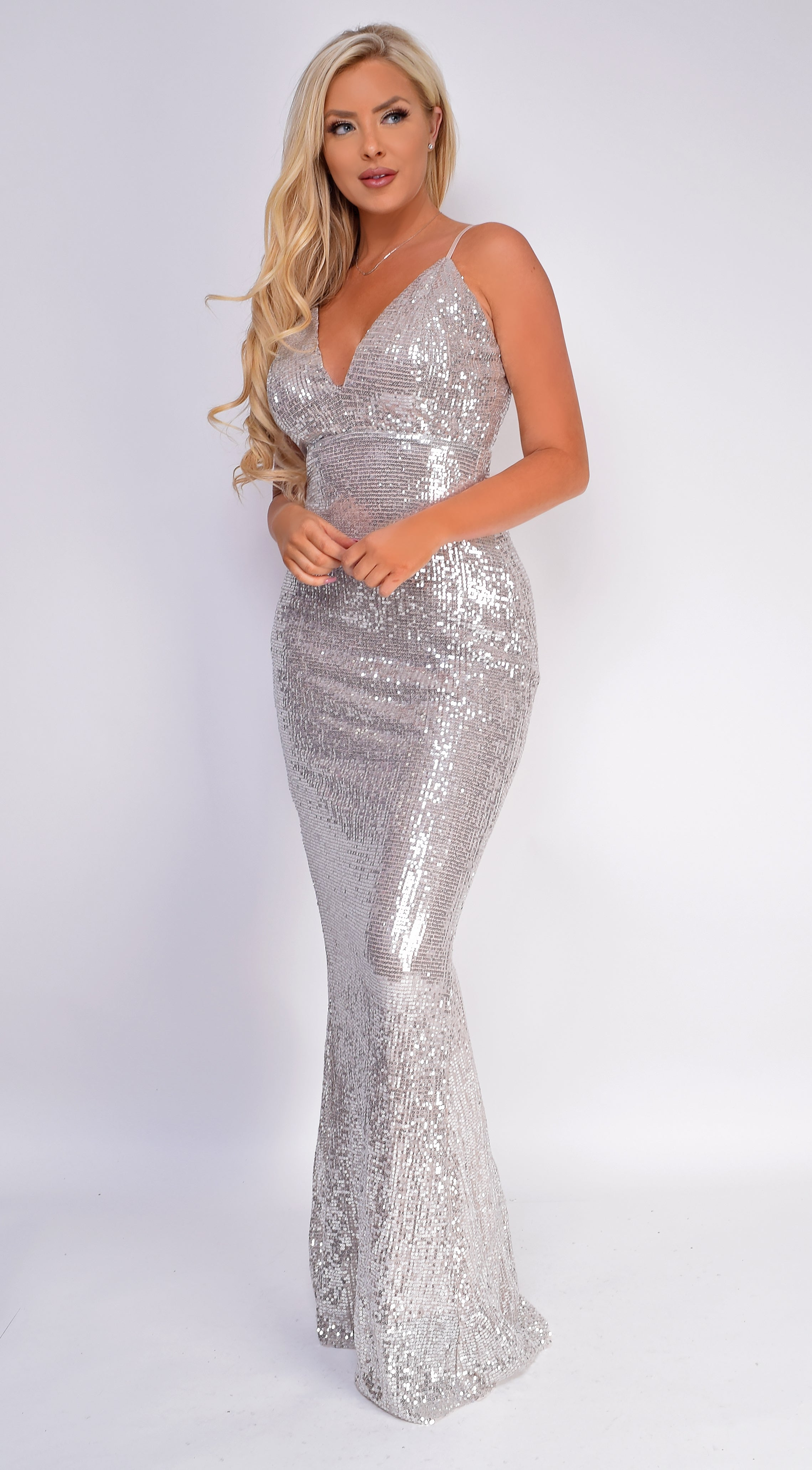 Isidra Silver Sequin Gown