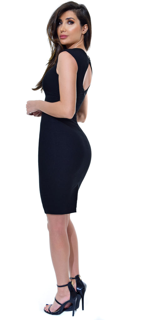 Alya Black Midi Dress - Emprada