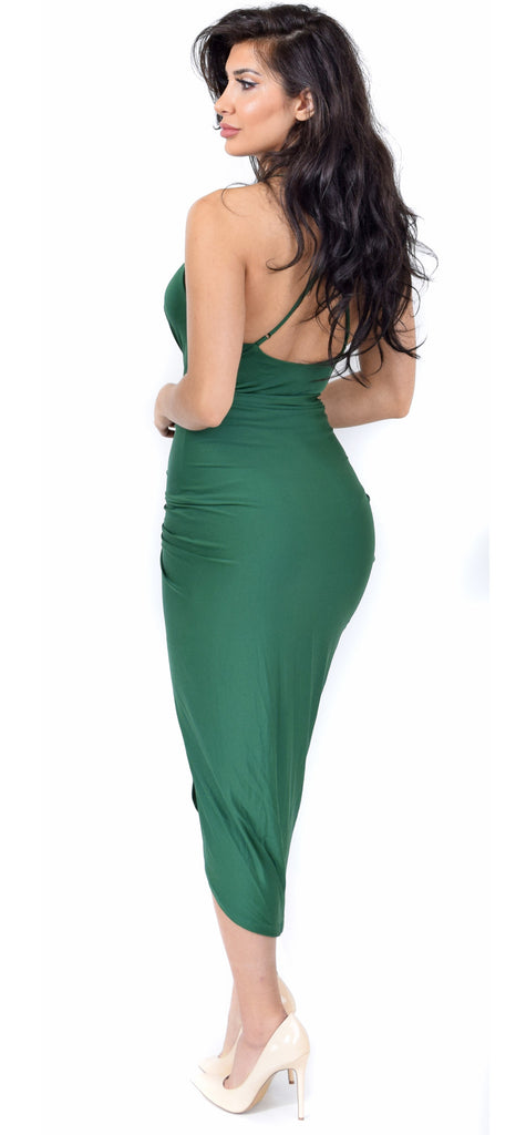 Jeanina Hunter Green Deep V Drape Dress