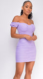 All About Me Lavender Purple Off Shoulder Ruched Dress