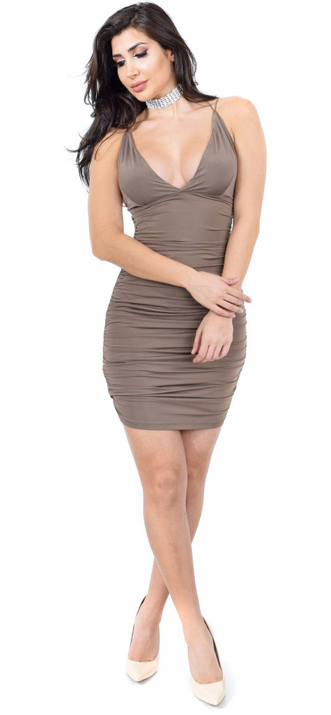 Vianna Mocha Ruched Dress - Emprada