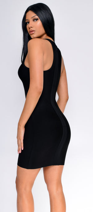 Jennie Black Lace Up Side Bandage Dress