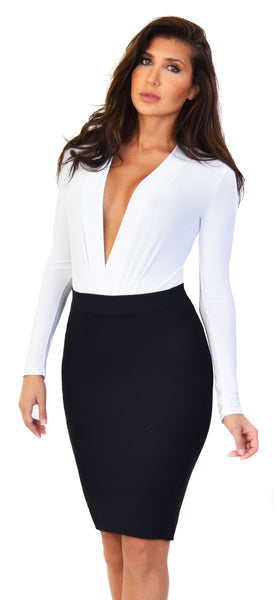 White Deep V Neck Long Sleeve Bodysuit - Emprada