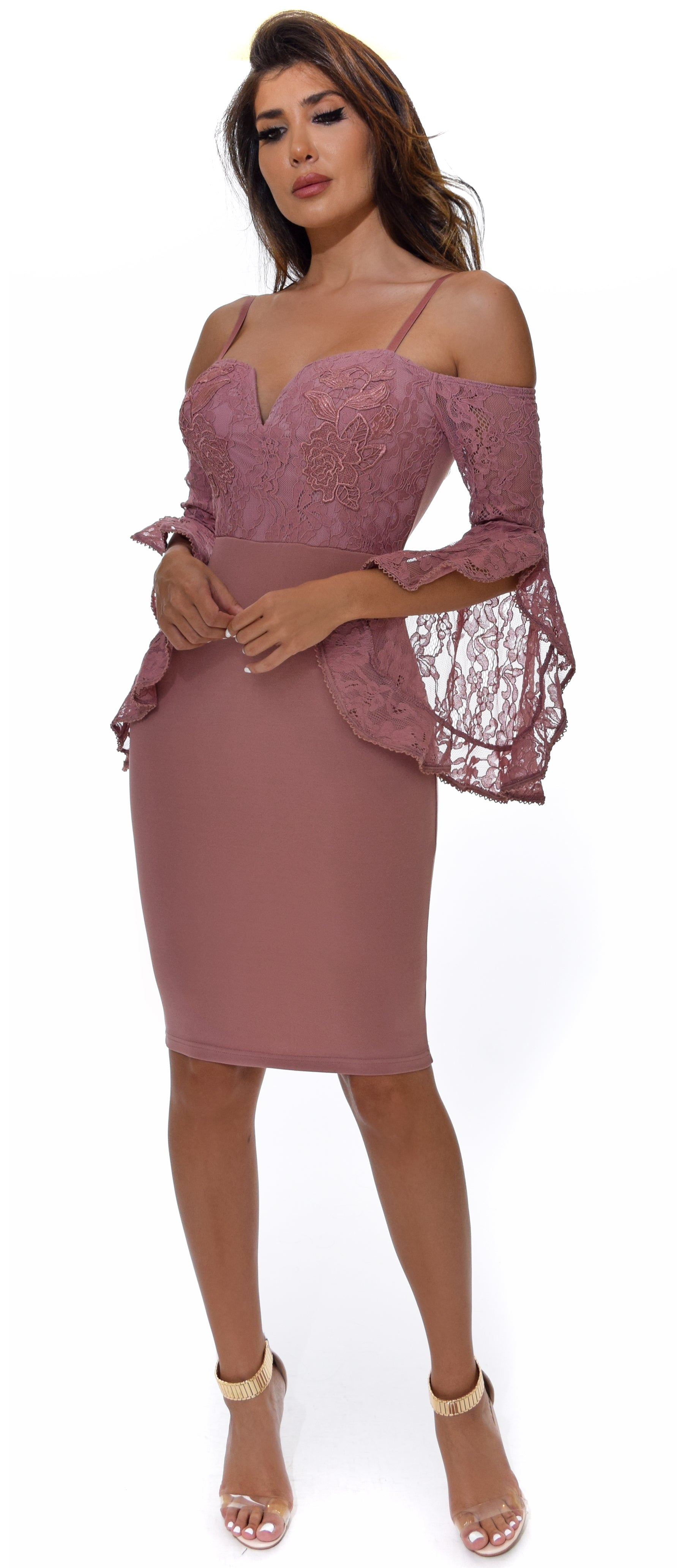 Shanina Rose Pink Lace Bell Sleeve Dress