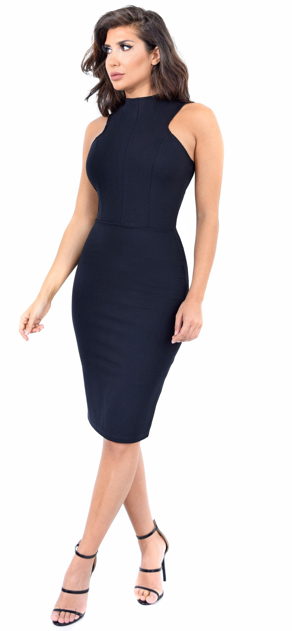 Solana Black Midi Dress - Emprada